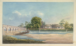 A bungalow with separate offices by the river Cauvery with the Upper Anicut.